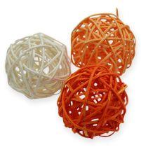 Rattan Balls 4,5cm Orange Apricot 30pcs