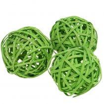 Rattanball light green Ø6cm 6pcs