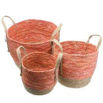 Rattan basket natural/orange Ø40/32/26cm 3pcs