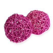 Rattan ball 10cm purple 10pcs