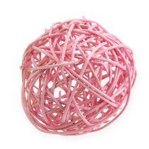 Rattan ball Ø10cm pink 10pcs