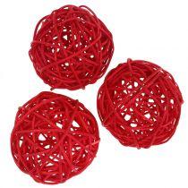 Rattan ball red Ø7.5cm 15pcs