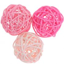 Rattan ball Pink mix Ø5cm 18pcs