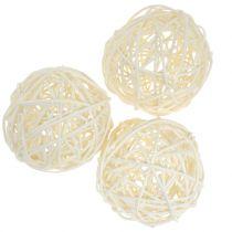 Rattan ball bleached Ø7,5cm 15pcs