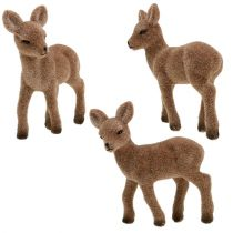 Deer standing flocked 11cm 6pcs