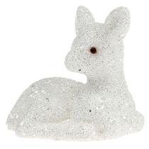 Fawn lying 8cm glitter white 6pcs