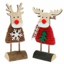 Reindeer and elk with Christmas sweater brown / red H14.5 / 13.5cm 6pcs