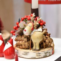 Deco figure reindeer Christmas with scarf 7 × 4.5 × 12cm 4pcs