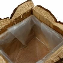 Planter box bark flower box wood 14 × 14cm