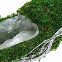 Moss wreath plant ring with vines and moss green, white Ø35cm
