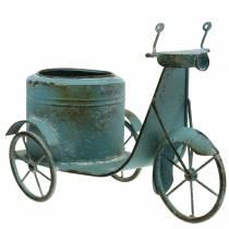 Flowerpot scooter metal rust blue 33cm
