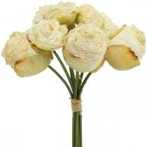Artificial roses, silk flowers, rose bunch cream white L23cm 8pcs