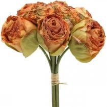 Rose bunch, silk flowers, artificial roses orange, antique look L23cm 8pcs