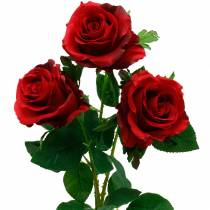 Red rose artificial roses silk flowers 3pcs