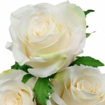 White rose on a stem, silk flower, artificial rose 3pcs
