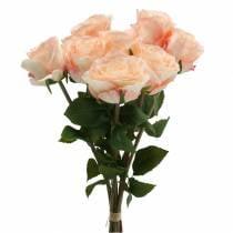 Artificial rose bouquet apricot 8pcs