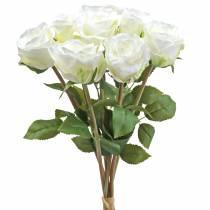 Decorative rose silk flowers in a bunch cream 36cm 8pcs