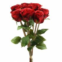 Rose in a bunch artificial red 36cm 8pcs