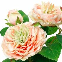 Decorative rose in a pot, romantic silk flowers, pink peony