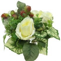 Roses / hydrangea bouquet white with berries 31cm