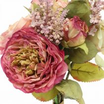 Roses silk flowers in a bunch of autumn bouquet pink, violet H36cm