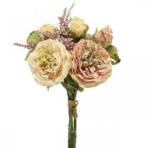 Roses artificial flowers in a bunch of autumn bouquet cream, pink H36cm