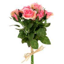 Rose bouquet in pink L26cm 3pcs