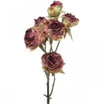 Artificial rose, table decoration, artificial flower pink, rose branch antique look L53cm