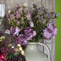 Rose branch, silk flower, table decoration, artificial rose purple antique look L53cm