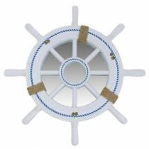 Nautic Decor Wheel with Mirror White Ø40cm
