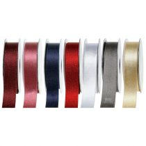 Satin ribbon with mica 25mm 20m