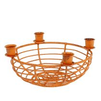 Bowl with 4 tree candle holders brown Ø14cm