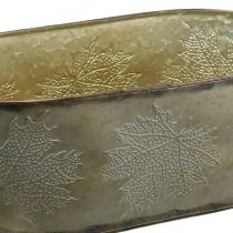 Autumn pot, planter bowl with leaves, metal decoration golden L38cm H15cm