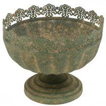 Rustic planter, bowl with foot, metal decoration, antique look, Ø18.5cm H15cm
