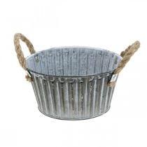 Plant bowl, metal bowl with handles, decorative bowl for planting Ø18cm