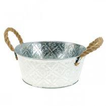 Decorative bowl silver with handles metal planter bowl planter Ø21cm
