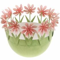 Planter bowl, spring decoration, metal bowl with flower decoration, Easter basket