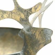 Bowl with reindeer head golden antique look metal Ø14cm