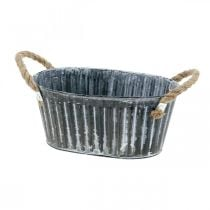 Metal plant bowl, flower bowl for planting, decorative bowl with handles L22.5cm