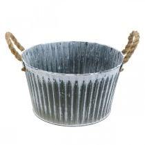 Metal plant bowl, flower bowl, plant pot with handles Ø28cm
