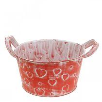 Metal bowl heart pattern, planter, planter bowl with handles Ø17.5cm