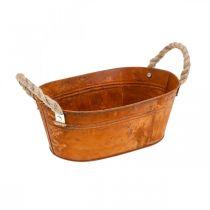 Plant pot with handles, herb bowl, autumn decoration, patina L28cm H11cm