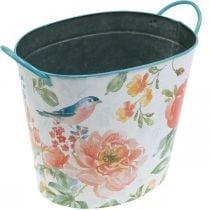 Plant bucket oval vintage metal spring decoration planter 27.5cm