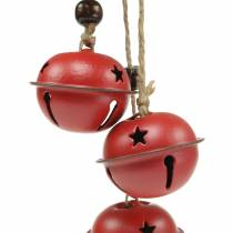 Bells with star on the ribbon for hanging red L30cm 2pcs