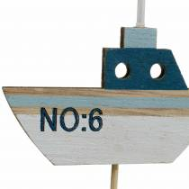 Decorative plug ship wood white blue natural 8cm H37cm 24pcs