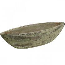 Planter bowl oval ceramic wood look light brown 37 × 11.5cm H10cm