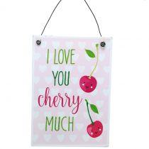 "Hanging sign ""Cherry"" 17cm x 12cm 4pcs"