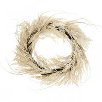 Decorative wreath pampas grass and reeds artificial cream 70cm