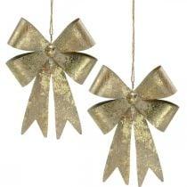 Loops made of metal, Christmas pendant, Advent decoration golden, antique look H18cm W12.5cm 2pcs