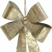 Bow to hang, Christmas tree decorations, metal decoration golden, antique look H23cm W16cm